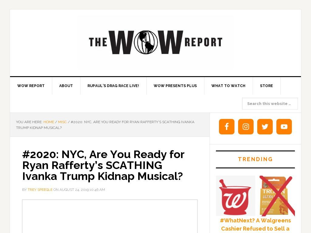 #2020: NYC, Are You Ready for Ryan Rafferty's SCATHING Ivanka Trump Kidnap Musical?