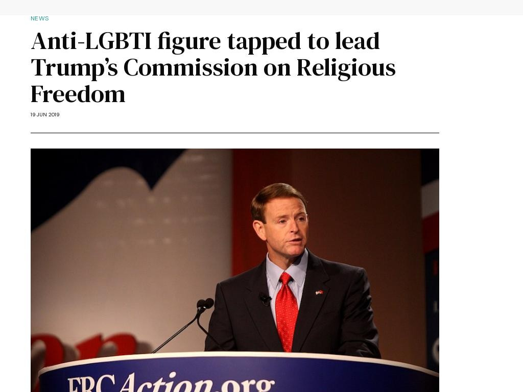 Anti-LGBTI figure tapped to lead Trump's Commission on Religious Freedom