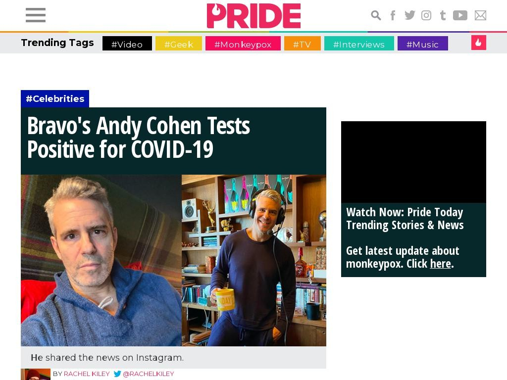 Bravo's Andy Cohen Tests Positive for COVID-19